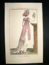 Lady's Magazine 1802 H/Col Regency Fashion Print. Paris Dress 12